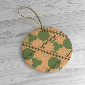 Retro Peach and Green Geometric Ornament
