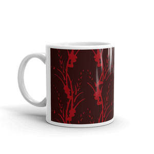 Red on Red Floral Stripe Coffee Mug