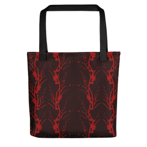 Red on Red Floral Stripe Tote Bag