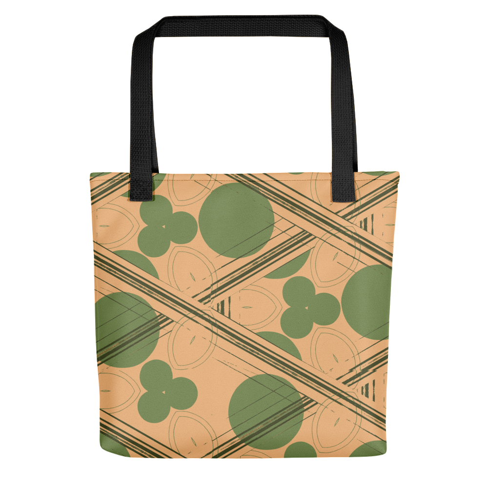 Retro Peach and Green Geometric Tote Bag