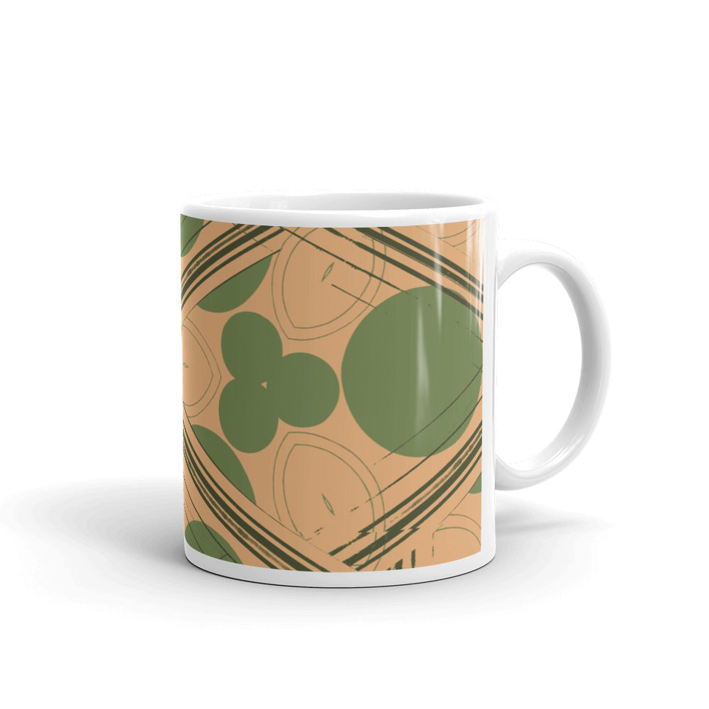 Retro Peach and Green Geometric Coffee Mug