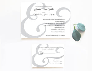 modern DIY typographic wedding invitation set with ampersand motif