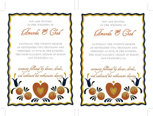 Folk DIY Wedding Invitation Suite