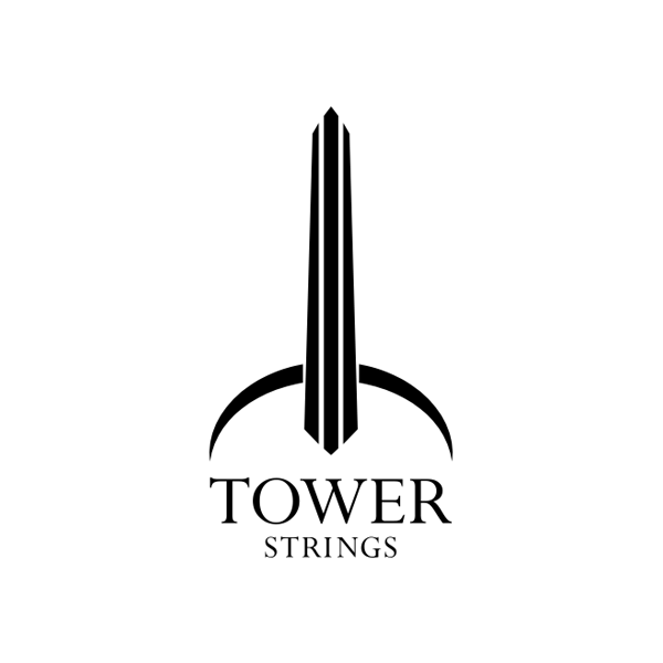 Violin shaped logo, Tower Strings Violins