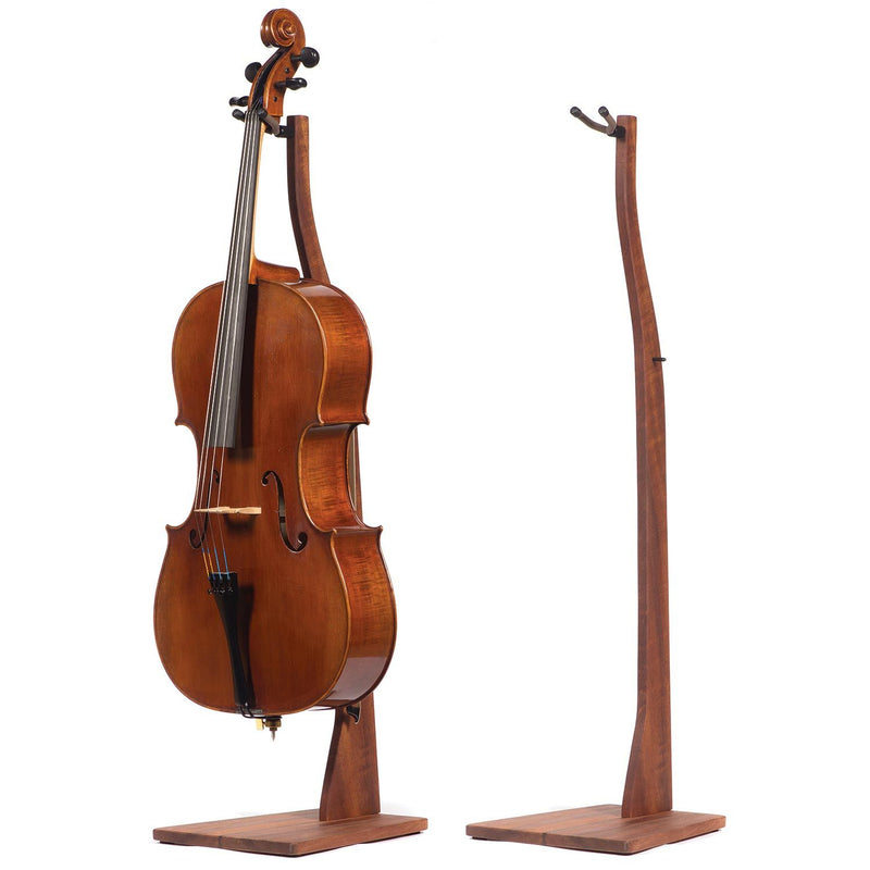 Handcrafted Solid Wood Cello Stand with Bow Holder