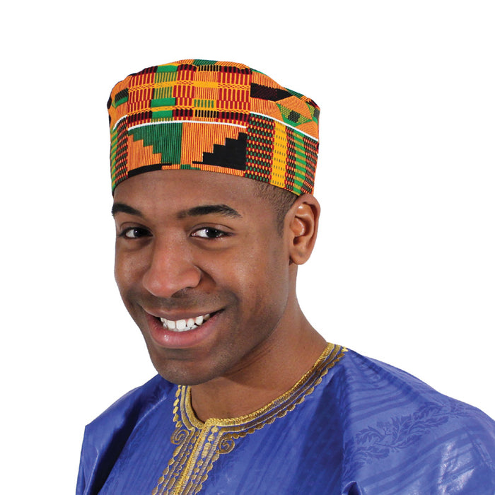 african-clothing-online,Kente Kufi Hat Style #2,African Clothing Online,Headwear