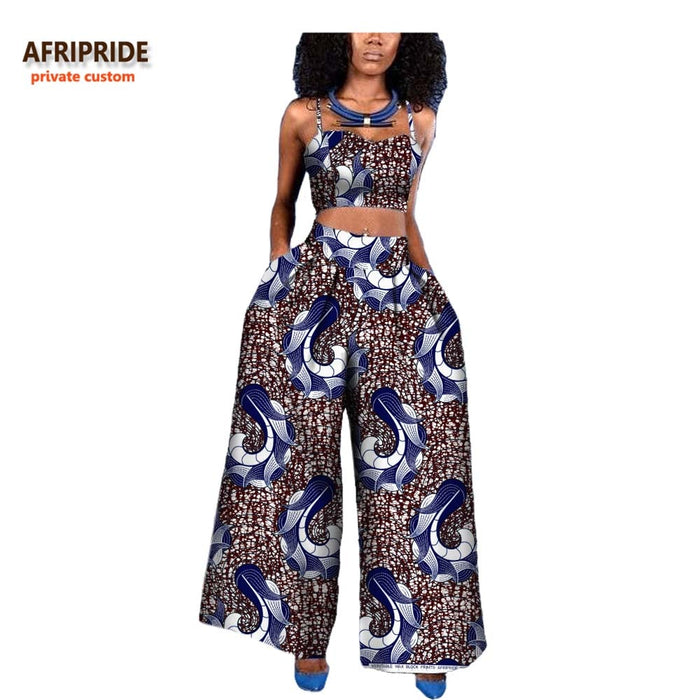 18 women 2-pieces suit african style AFRIPRIDE private custom sleeveless halter short top + ankle-length wide pant suit afcol82 - African Clothing Online