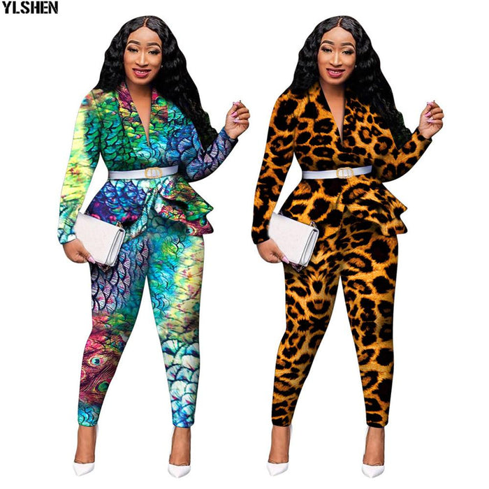 2 Piece Set African Clothes Print Dashiki New Dashiki Fashion Suit (Top And Pants) Super Elastic Party Plus Size Suits For Lady