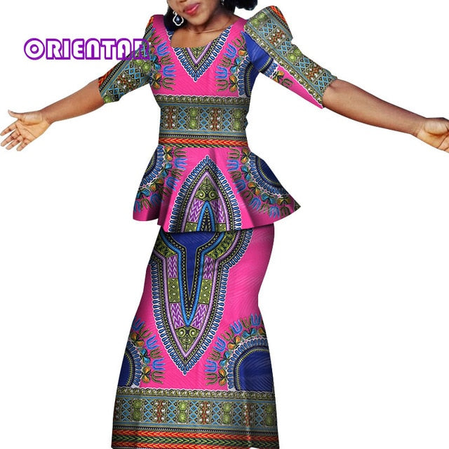 2 Pieces Set African Clothes for Women Classic African Printed Tops and Long Skirts Bazin Riche Skirt Women Suits Set afcol337
