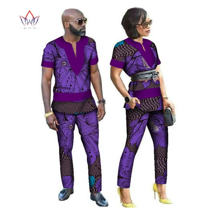 2018 Autumn African Couple Clothes 2 Pieces Lovers Couples Clothing Print Dashiki Bazin Riche Plus Size Clothing 6xl BRW WYQ24