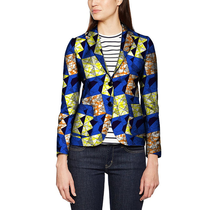 2018 BRW Dashiki African Women Blazers Print Clothes for Women Suit Full Sleeve Notched Plus Size 6xl African Cotton Jacket Coat