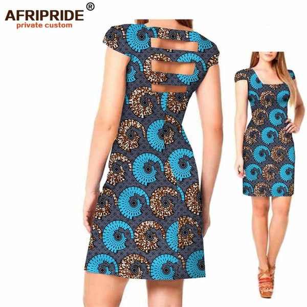 2018 Original AFRIPRIDE Private Custom New african dress Summer short sleeve above knee casual cotton dress for women  A722541 - African Clothing Online