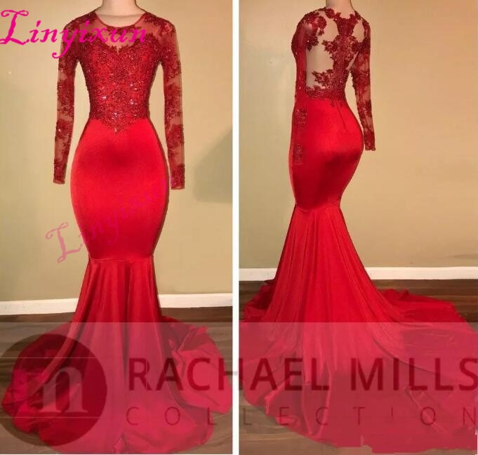 2018 Vintage Sheer Long Sleeves Red Prom Dresses Mermaid Appliqued Sequined African Black Girls Evening Gowns Red Carpet Dress - African Clothing Online