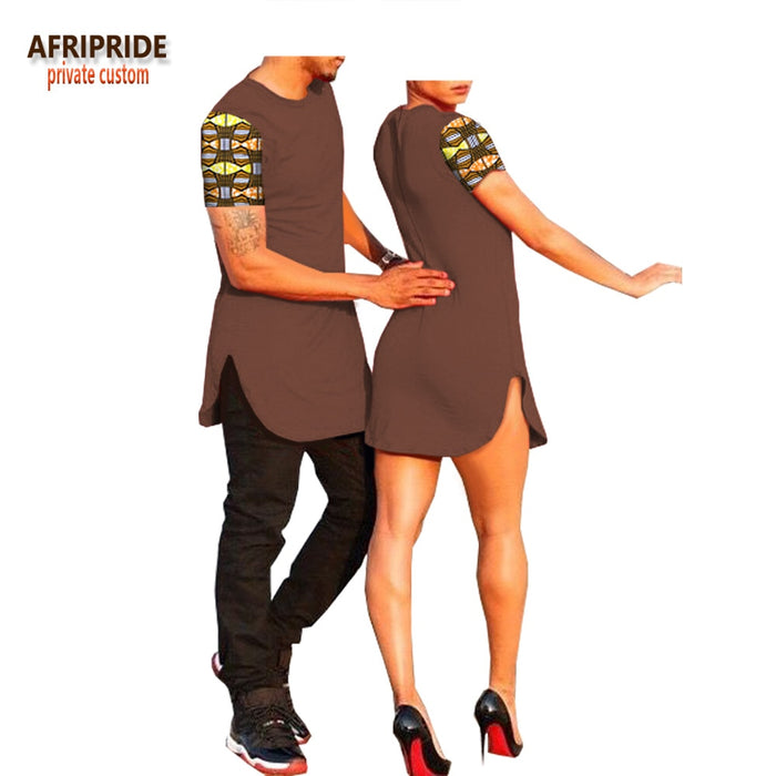 2018 summer african pattern couple clothes AFRIPRIDE short sleeve o-neck men's T-shirt+women mini dress casual suit A18C001