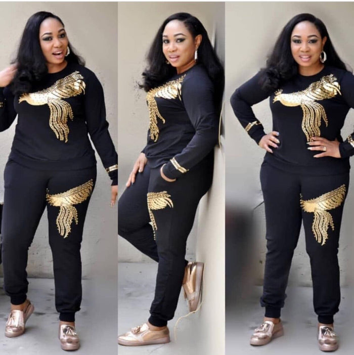 2019 African Clothes High Elasticity Pit Cotton Double Phoenix Diamond Plus Size Suit For Lady Dashiki and Pants Suit - African Clothing Online