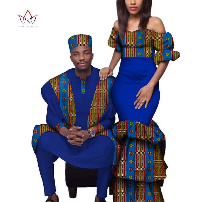 2019 African Couple Clothes African Dresses for Women Bazin Riche Long Dresses African Men Print Gown Top and Pants afcol240