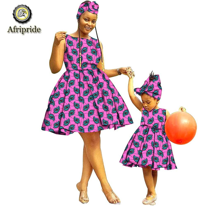 2019 African Dresses+Headwarp for Women Dashiki Dress for Girl Ankara Fabric Mother and Daughter Clothing Print AFRIPRIDES19F001