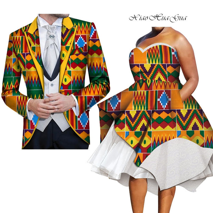 2019 African Dresses for Couples Dashiki  Couple Costume for Party/wedding African Couple Clothing Customized Wholesale WYQ272