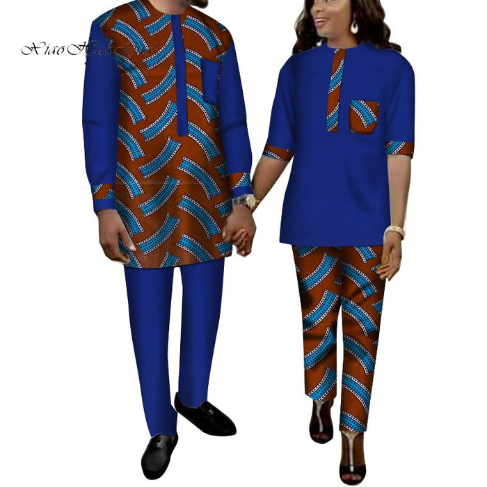 2019 African Print Top and Pants Sets for Couple Clothing Bazin Riche Patchwork Print 2 Pieces Lover Couples Clothes WYQ262