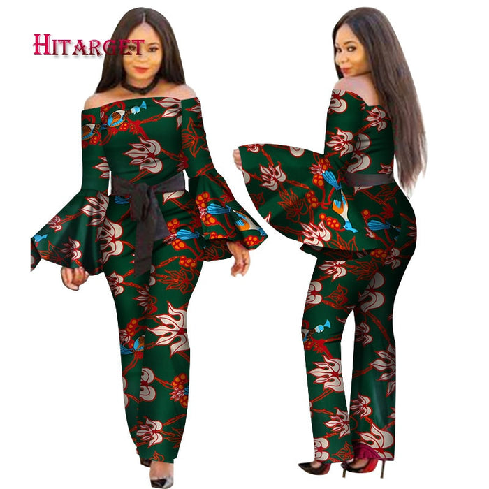 2019 African Print Women Jumpsuit Slash-Neck Long Horn Sleeve Sexy Romper Wide Leg Pants African Ladies Jumpsuits Rompers afcol232