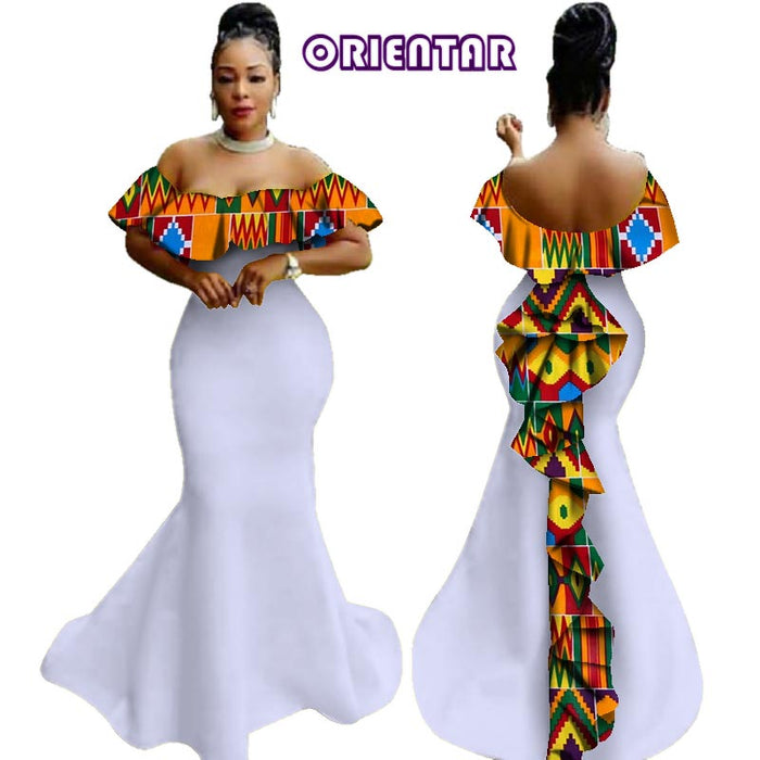 2019 African Wax Print Ruffles Long Dresses Party Vestidos Bazin Riche Dresses Traditional African for Women Clothing afcol158