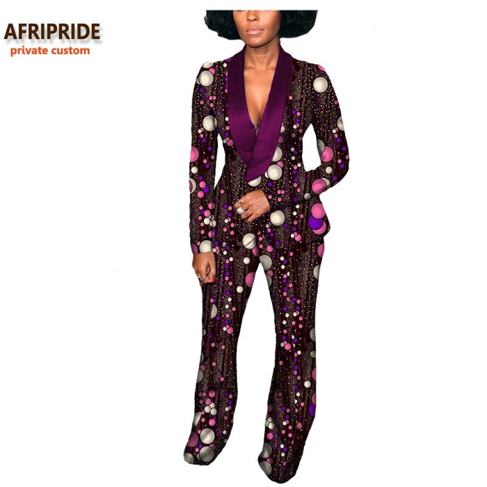 2019 Autumn african women suit AFRIPRIDE private custom full sleeve V-neck top+long pant 100% pure wax cotton plus size A722637 - African Clothing Online