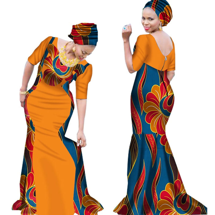 2019 Bazin Riche African Dresses for Woman Print Splice V Neck Mermaid Dresses with Head Tie Dashiki African Clothes afcol209