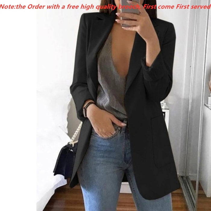 2019 Fashion Autumn Women Slim Blazers Jacket Female Work Office Lady Black Pockets Notched Blazer Coat