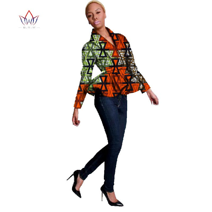 2019 New African Print Wax Coat Dashiki Blazer Plus Size 6xl Africa Style Clothing for Women Crop Top Casual Coat WY094 - African Clothing Online