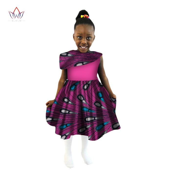 2019 New Summer Africa Children Clothing Dashiki Cute Girls Dresses Bazin Riche Sweet African traditional clothing afcol140