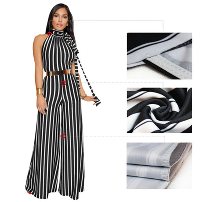 2019 New Women Summer & Spring Pleated Sleeveless Stripe Jumpsuit Sexy Bodysuit Autumn-Winter Wide Leg Jumpsuit