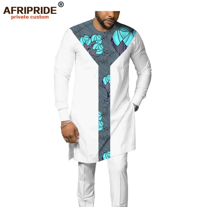 2019 african men`s suit dashiki clothing tribal outfit print shirt+pant 2 piece set with pocket bazin riche  afcol91