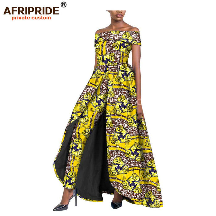 2019 african style women two-piece suit for lady long splits dress+long ankara pants dashiki real wax print  afcol142