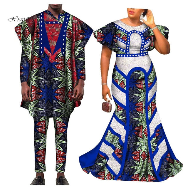 2020 African Clothing African Dresses For Women Bazin Shirt And Pants Men 3 Pieces Sets Couples Lover Clothes Print Dress Afcol157 African Clothing Online