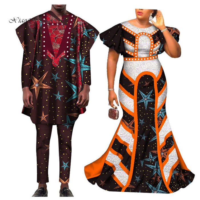 2020 African Clothing African Dresses for Women Bazin Shirt and Pants Men 3 Pieces Sets Couples Lover Clothes Print Dress afcol157