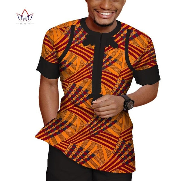 2pcs set Men Top Shirt and pant trousers set  African Men Clothes Cotton Print Patchwork Short Sleeve Dashiki