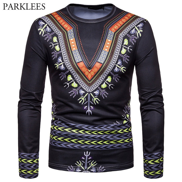 3D T Shirt Men 2018 Autumn New African Dashiki Print T-shirt Men Hip Hop Streetwear Tee Shirt Homme Casual Long Sleeve Tshirt afcol250