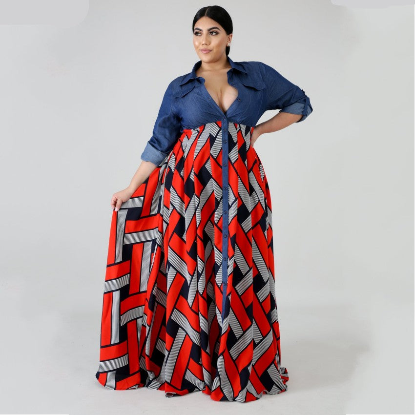 3XL 4XL Plus Size Africa Clothing Trendy Stripe Printed Long Sleeve Maxi  Dress Women Autumn Robe Long Party African Dress