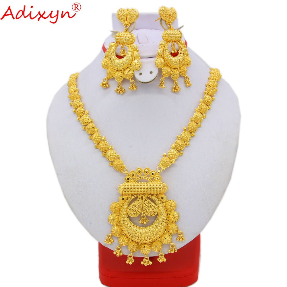 Adixyn Long Size Neckalce Earrings Jewelry For Women Gold Color Brass African/Ethiopian/India/Middle East Traditional Day N09274