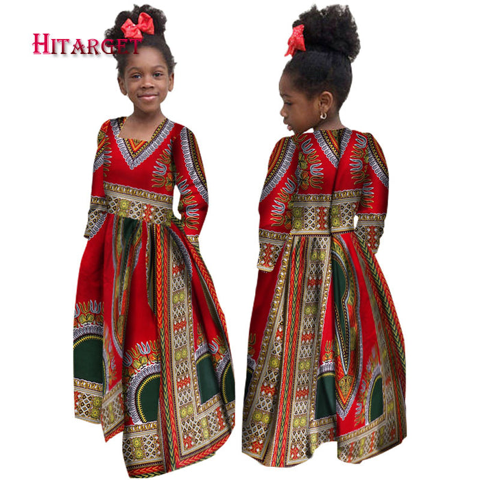 African Autumn Girl Dress Kids Dashiki Traditional Cotton Long Sleeve Dresses Matching Africa Print Girl Natural Dress afcol306