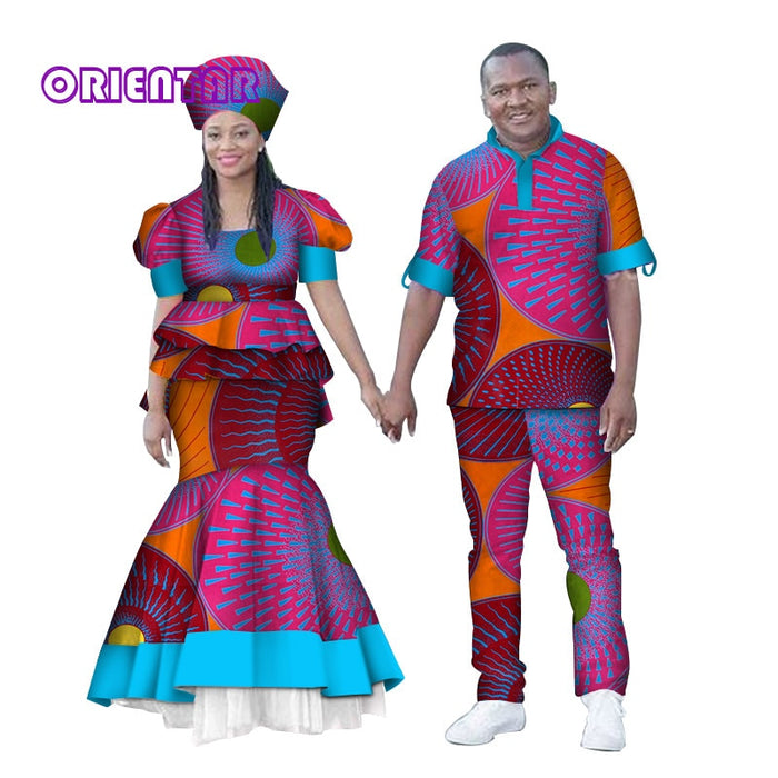 African Clothes for Couples Men Women African Print Tops and Long Skirt Shirt and Pants Couples Clothing Valentine's Day WYQ150
