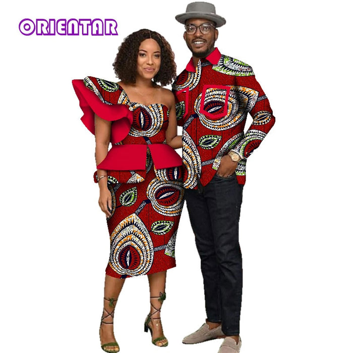 African Clothes for Men Women African Print Long Sleeve Men Shirt Women One-Shoulder Tops Short Skirts Couples Clothing WYQ135