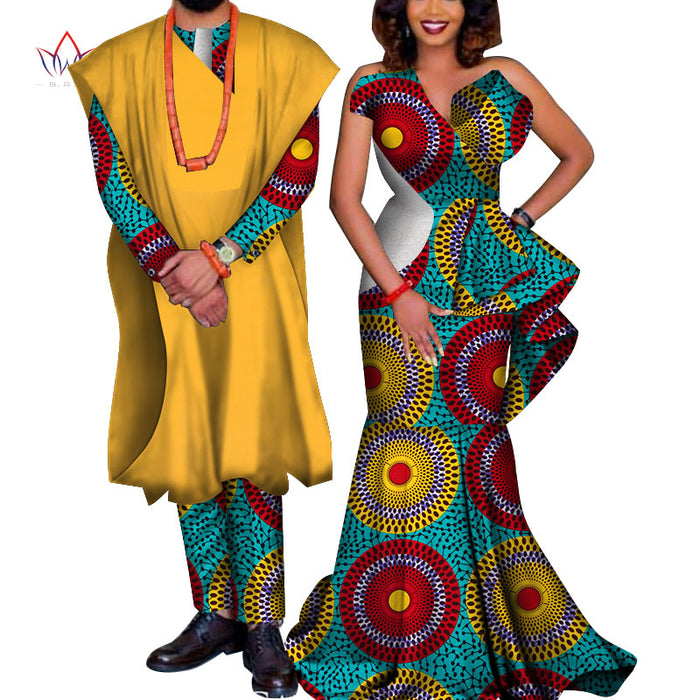 African Couple Clothes African Dresses for Women Bazin Riche Long Dresses African Men Print Gown Coat and Pants afcol151