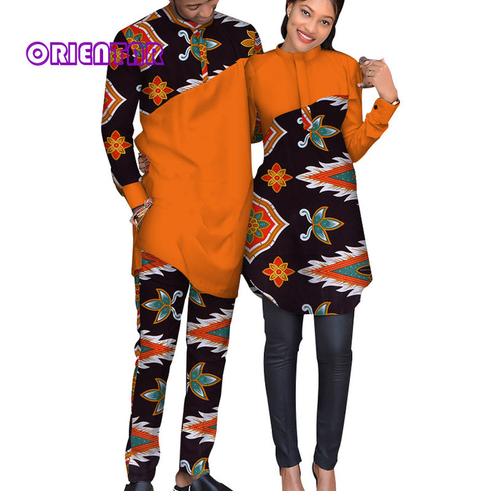 African Couple Clothes Women Long Shirt Men Casual Suit Bazin Riche African Print Shirts and Pants Fashion Lover Clothing WYQ124 - African Clothing Online