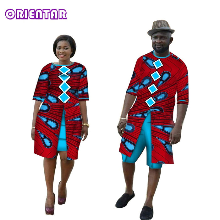 African Couple Clothes Women Men Long Shirt Casual Suit Bazin Riche African Print Shirts and Short Pants Lover Clothing WYQ138