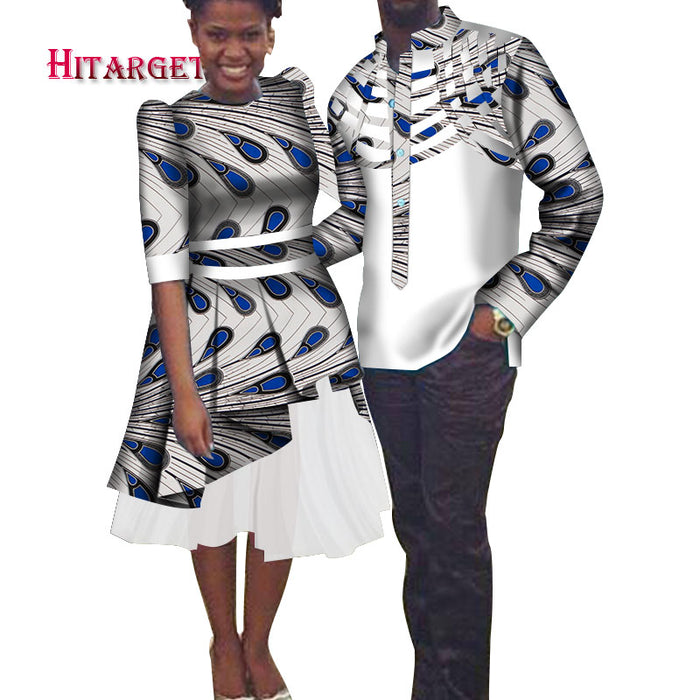 African Couple Clothing Men's Shirt+dashiki African Dresses for Couple African Clothes for Couple Party Wedding Dresses   afcol220