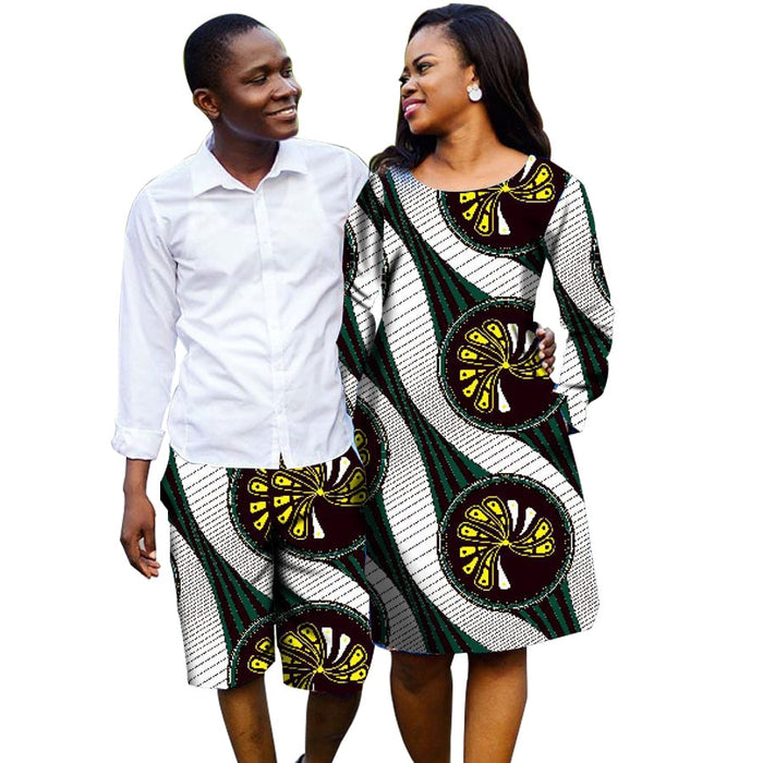 African Couple Outfit Women Dresses Men Shorts Outfit for Couples Couple's Prom Outfits Africa Clothing For Men And Women