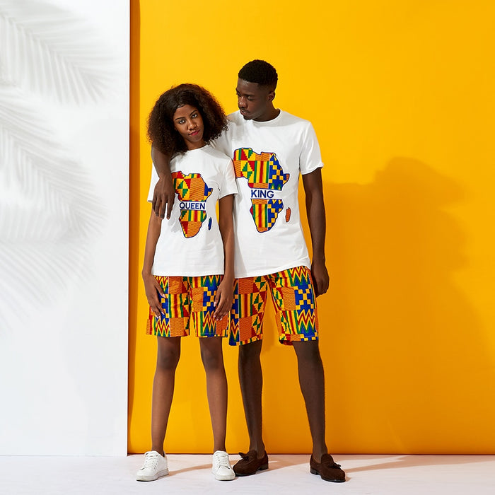 African Couple clothes Shirt and shorts 2piece traditional kente cotton Wax Print Man Clothing Short Sleeve Shirt