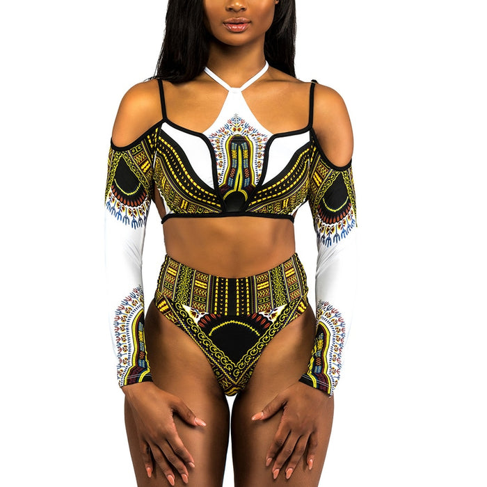 African Dashiki Print High Waist Bikini Swimsuit Long Sleeve Thong Swimwear Women Bikini 2018 Plus Size Off Shoulder Swim Suits