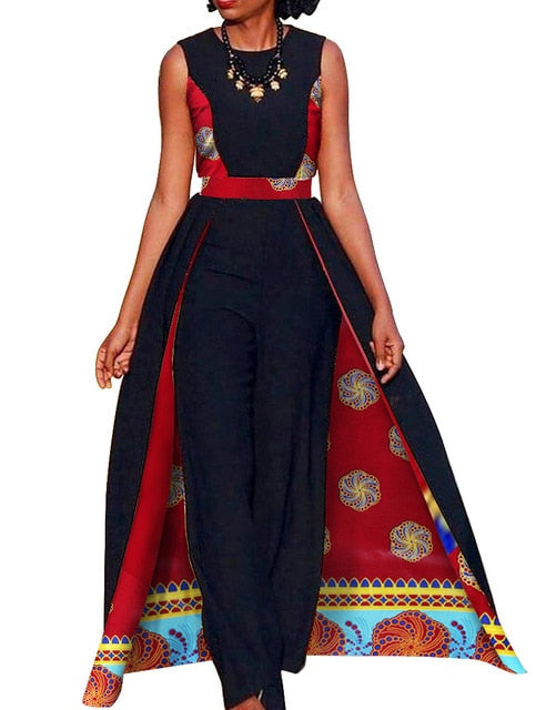 African Design Bazin Summer Elegant Womens Rompers Jumpsuit Sleeveless Rompers Jumpsuit Long Dashiki Pants Plus Size afcol126